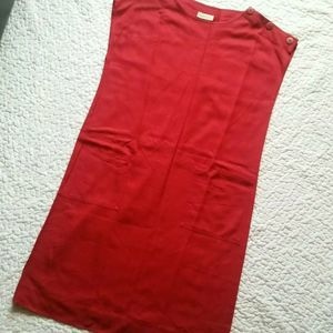 Vintage Evan Picone Solid Red 16 Silk Shift Dress